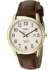 Timex Mens TW2P75800 Easy Reader Brown/Gold-Tone/Cream Leather Strap Watch