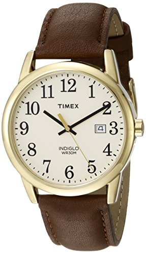 Timex Men's TW2P75800 Easy Reader Brown/Gold-Tone/Cream Leather Strap Watch - Watch Brass Leather Wrist