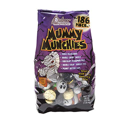 Mummy Munchies Assorted Halloween Chocolates, 3.5 Lb Bag - 186 Individually Wrapped Chocolate Pieces (Fudge, Peanut Butter Cups, Double Crisp) in Resealable Bag (Monster -