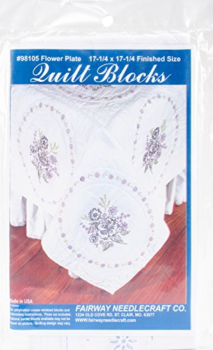 Fairway Needlecraft 98105 Quilt Blocks, Flower Plate Design, White, 6 Blocks Per -