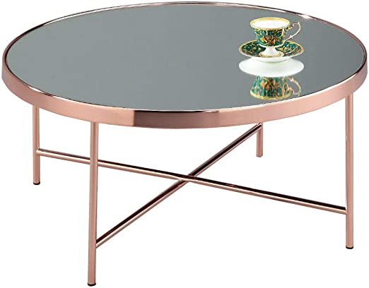 Aspect Fino Mirroredglass Round Coffee Table Copper 825x825x40 Cm