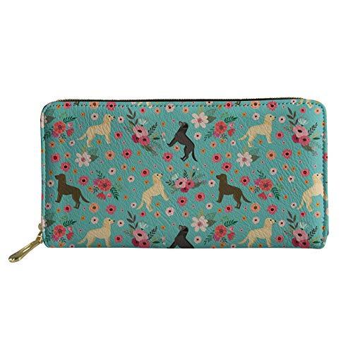SANNOVO Women's Labrador Retriever Printed Wallet Zippered Pu Leather Passport Holder