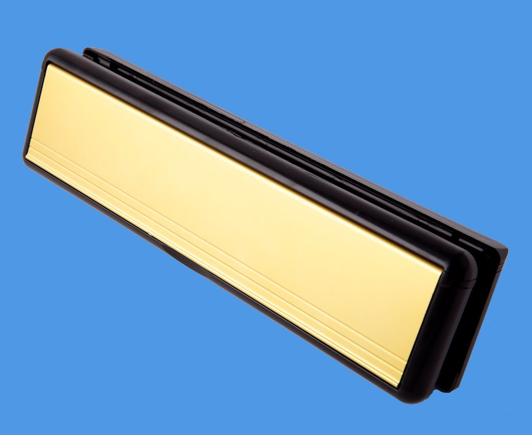 12' UPVC Letterbox in GOLD with BLACK surround – Panel Fitting Paddock