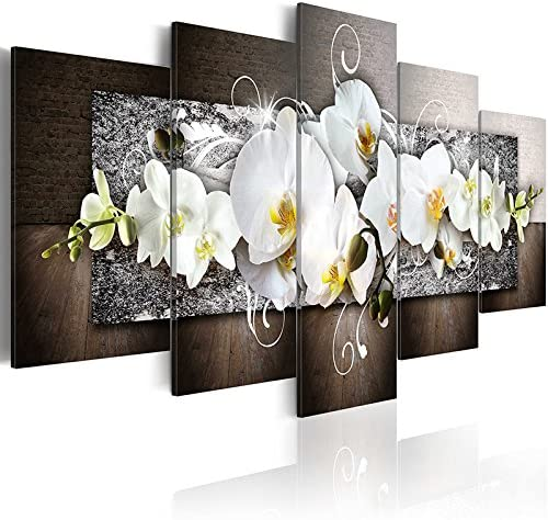 5 Panels Large Size Flowers Canvas Painting Print Wall Art Modern Vivid White Orchid Blossoming Floral Picture