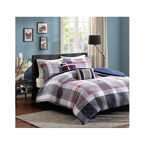 Red Blue Grey Plaid Comforter Boys Teen Bedding Set Pillow (full/queen)