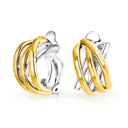 Bling Jewelry Two Tone Gold Plated Criss Cross Half Hoop Clip On Earrings (Two Hoop Half Tone)