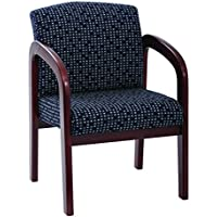 Office Star Padded Fabric Seat and Back Visitors Chair with Cherry Finish Frame, Indigo