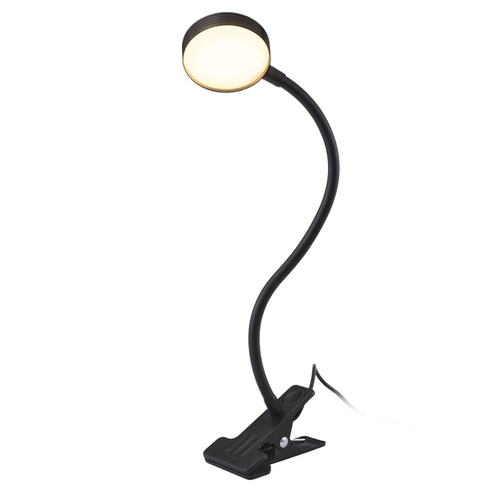TOMSOO Adjustable LED Sunlight lamp, Clip-On Reading Lamp Natural Light, Portable Book Light with Soft Padded Clamp, Student Lights Outdoor Light, Table Lamp for Desk, Bedside, Piano Rack (Black)