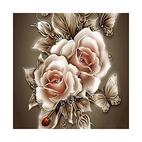 Whitelotous Retro Rose Flower 5D Diamond Painting Embroidery DIY Paint-By-Diamond Kit Home Wall Decor 14 x 14 (Rose Flower Paintings)