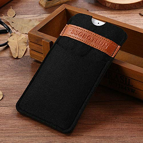 (FidgetGear for iPhone X iPhone 8 Plus/8/7/6S+ Case Handmade Wool Felt Pocket Protective Bag Black for iPhone 8 Plus 5.5