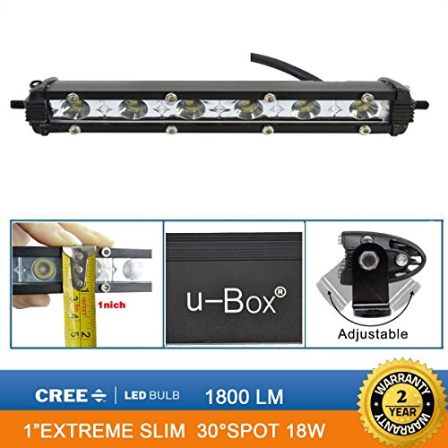 UPC 686046141909, u-Box Waterproof 1inch Extreme Slim 7inch 18W Cree Chip LED Off Road Light Bar Spot Beam - Pack of 2