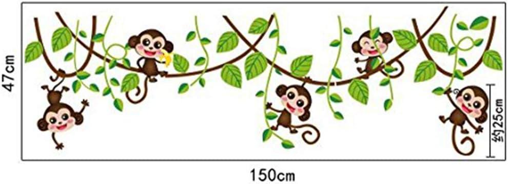 Camera dei Bambini Vivai Adesivi da Parete Removibili//Stickers Murali//Decorazione Murale ufengke/® Cute Monkeys Rampicanti Albero Adesivi Murali