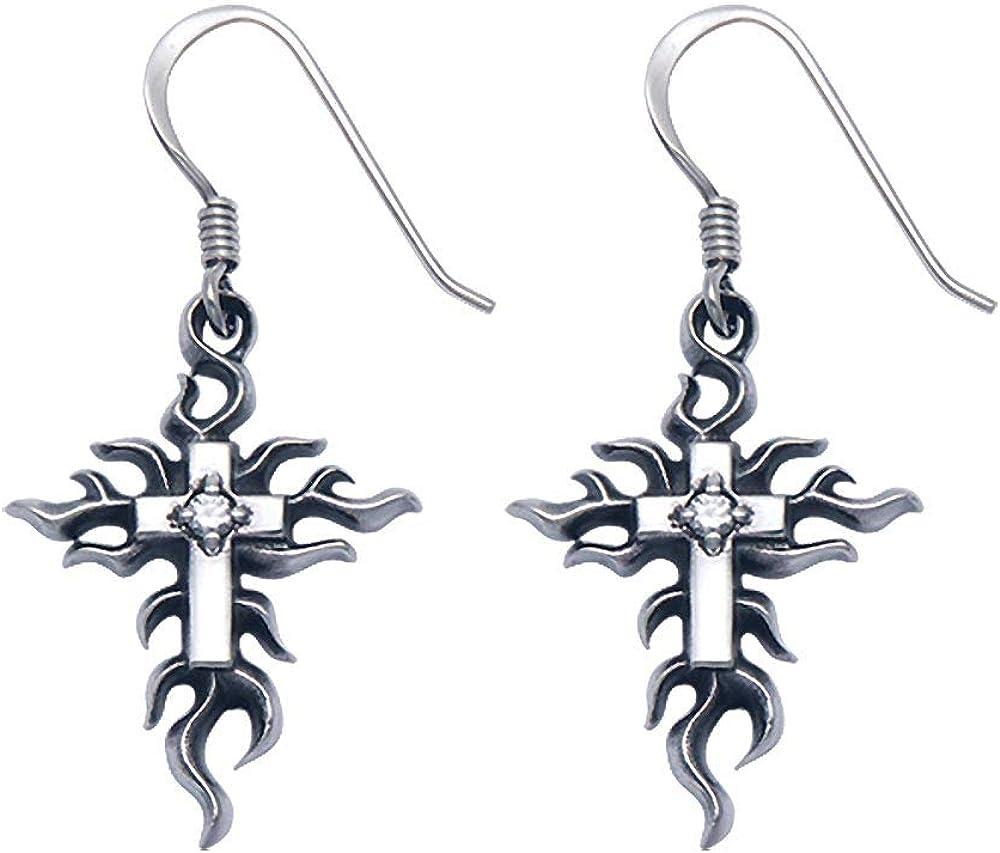 Wildthings Ltd Sterling Silver Flaming Cross w//Crystals Hook Earrings