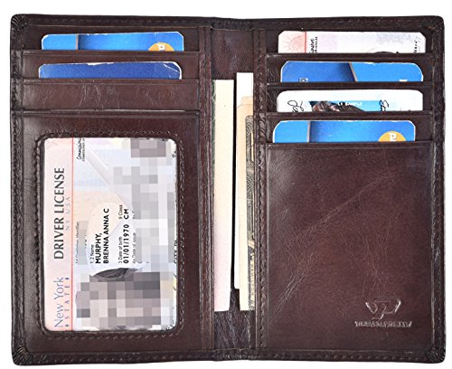 Slim Thin ID/Credit Card Holder Leather Bifold Front Pocket Wallet RFID Blocking (Coffee)