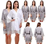Set of 7 Women's Cotton Kimono Robes Wedding Party Gifts for bride and Bridesmaid with Lace Trim