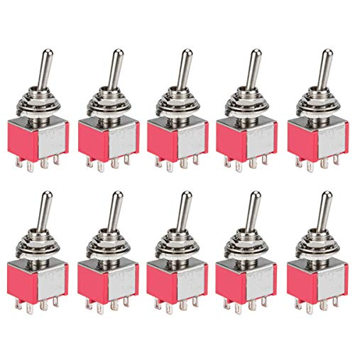 DIYhz Toggle Switch AC 5A/125V 3A/250V 6 Pin Terminals On/Off/On 2 Position DPDT Toggle Switch Mini Miniature Toggle Switch Car Dash Dashboard,10Pcs (Dpdt Miniature)