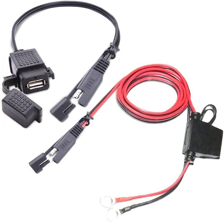 FloralLive SAE /à antipoussi/ère /étanche Adaptateur USB C/âble USB Chargeur Rapide 2.1A Port pour Moto Mobile Tablet GPS