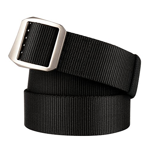Drizzte 67'' Plus Size Mens Belts Nylon Military Tactical Web Belt Metal Buckle Black (Punched Black Metal)