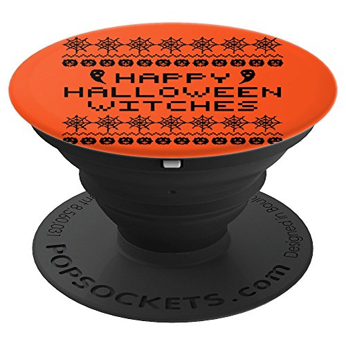 Happy Halloween Witch Broomstick Black Cat Ghost -