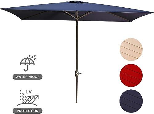 USspous Garden Patio Umbrella 10 x 6.5 ft Outdoor Rectangular Umbrella