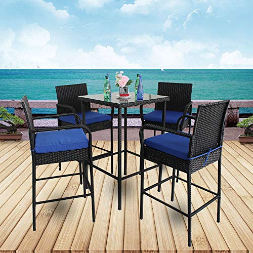 et 5pcs Black Rattan 1 Bar Table and 4 Stools Set Party Furniture Outdoor Garden Wicker Bar Set Easy Assembly Royal Blue Cushion ()