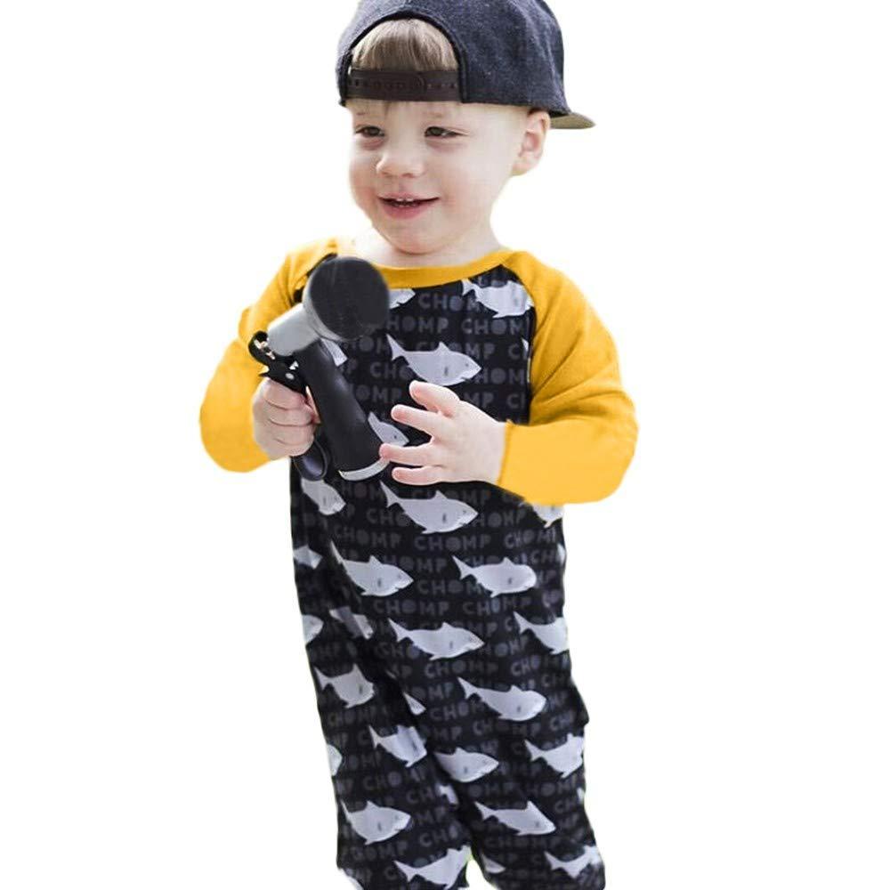 NUWFOR Toddler Infants Baby Boys Girl Cartoon Shark Print Romper Costume Jumpsuit (Black,12-18 Months