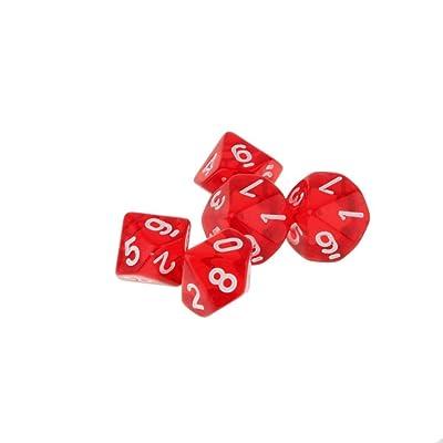 5pcs Juguetes Educativos Matemáticas Dados 10 Lados D & D Trpg Warhammer - Rojo: Juguetes y juegos