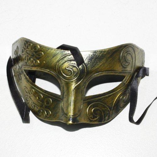 Half-Masks Eyes Mask Mens Adult Masquerade Greek Roman Facial Mask for Fancy Dress Masked Ball (Gold) by Mardi Gras Masks (Metal Eye Patch)