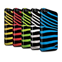 STUFF4 Gloss Tough Shock Proof Phone Case for Apple iPhone 4/4S / Pack 5pcs / Zebra Animal Skin/Print Collection