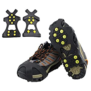 Ice Cleats, HoFire Ice Grips Traction Cleats Grippers Non-slip Over Shoe/Boot Rubber Spikes Crampons Anti Easy Slip 10 Steel Studs Crampons Slip-on Stretch Footwear (10-Studs-Black, M)