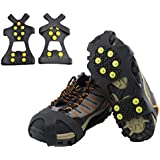 Ice Cleats, HoFire Ice Grips Traction Cleats Grippers Non-slip Over Shoe/Boot Rubber Spikes Crampons Anti Easy Slip 10 Steel Studs Crampons Slip-on Stretch Footwear