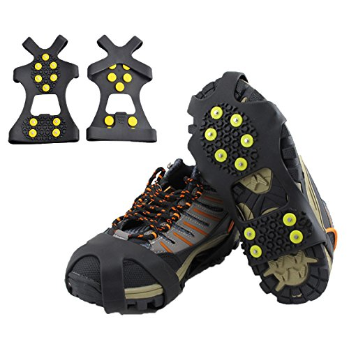 Ice Cleats, HoFire Ice Grips Traction Cleats Grippers Non-slip Over Shoe/Boot Rubber Spikes Crampons Anti Easy Slip 10 Steel Studs Crampons Slip-on Stretch Footwear (10-Studs-Black, XL)