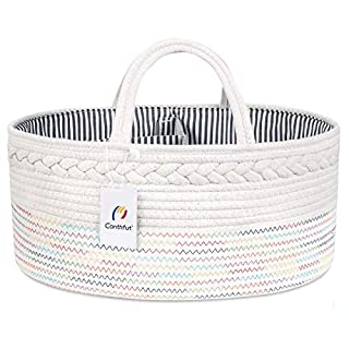Conthfut Baby Diaper Caddy Organizer - Stylish Rope Nursery Storage Bin 100% Cotton Canvas Portable Diaper Storage Basket for Changing Table - Top Baby Shower Basket