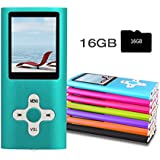 """RHDTShop MP3 MP4 Player with a 16 GB Micro SD card, , Portable Digital Music Player/Video/Voice recorder/FM Radio/E-Book Reader , Support UP to 64GB TF Card,Ultra Slim 1.7"""" LCD Screen,Blue"""
