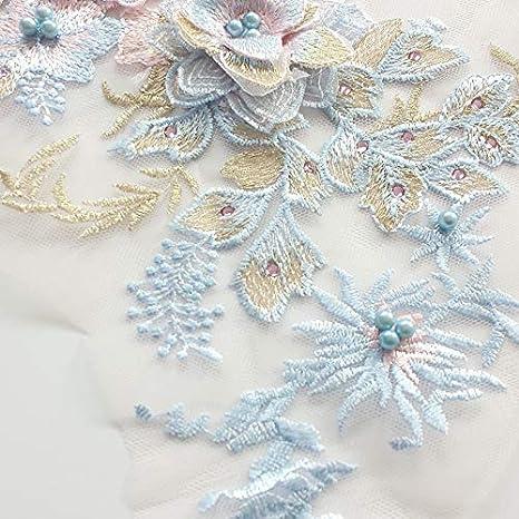 Bestickte Perlen Hot-Drilled dreidimensionale Blume Spitze Applikation 3D Serie Hochzeitskleider//Performance-B/ühnenkleider//Kost/üm-Zubeh/ör Blau//Violett