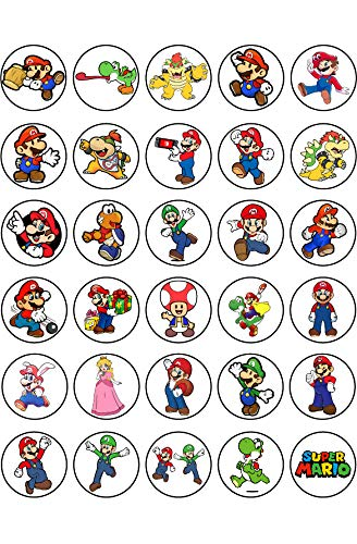 30 x Edible Cupcake Toppers - Super Mario Themed Collection of Edible Cake Decorations   Uncut Edible Prints on Wafer Sheet
