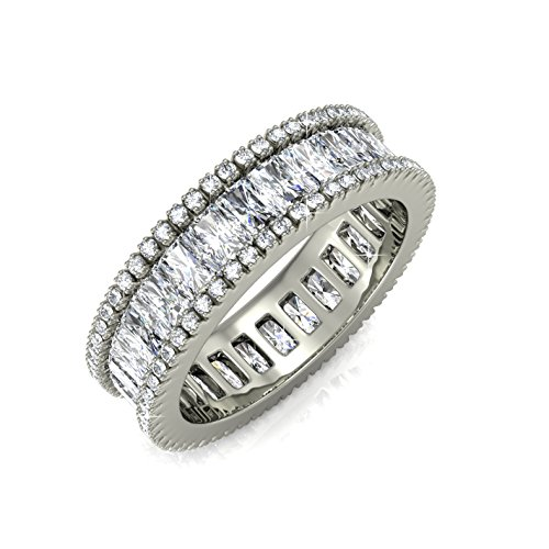 White Gold-Plated Eternity Ring for Women Matashi 18k Trendy Fashion Jewelry for Girls, Ladies | Elegant Wear (Emerald Cut CZ) Vintage Style, 360° Design (Ring Size 6)
