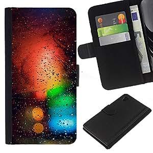 "A-type (Colores Bokeh"") Colorida Impresión Funda Cuero Monedero Caja Bolsa Cubierta Caja Piel Card Slots Para Sony Xperia Z4v / Sony Xperia Z4 / E6508"