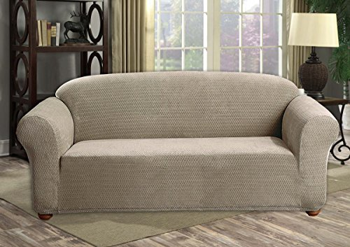 The Original Premium Diamond Velvet Couch Cover for Dogs, Kids, Pets - Sofa Slipcover Set Furniture Protector for 3 Cushion Couch, Recliner, Loveseat and Chair (Sofa, Taupe)