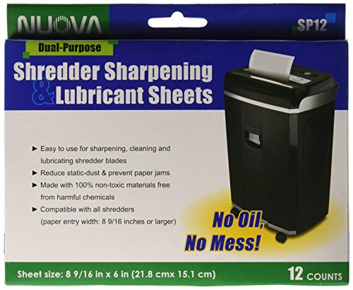 - Nuova SP12 Shredder Sharpening & Lubricant Sheets, 12 Count