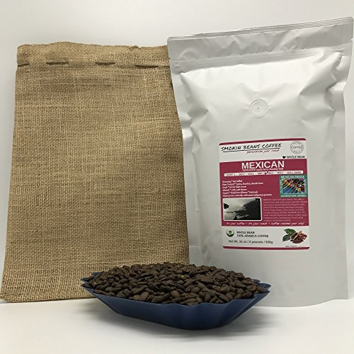 2-LBS SUPER FRESH ROASTED – MEXICAN COFFEE (in a FREE BURLAP BAG) – Order Today/ROASTED TODAY – Beautiful Medium/Dark, Whole Bean – SUPER SWEET – a Perfectly Developed Roast – BEST AWESOME TASTES by Smokin Beans