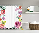 LCUCE Watercolor Flower Decor Collection, Floral Frame with Summer Flowers Roses Natural Picture, Polyester Fabric Bathroom Shower Curtain Set with Hooks, Pink Navy Blue Purple White