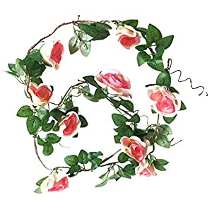 Artfen Artificial Rose Old Vine Fake Rose Flowers Garland Hanging Baskets Plants Home Outdoor Wedding Arch Garden Wall Decor Champagne Pink 2