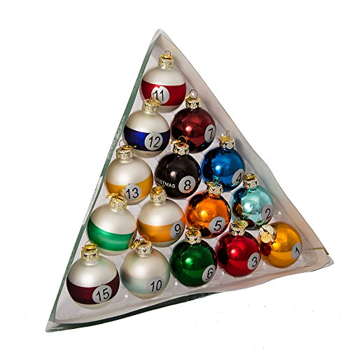 Kurt Adler 40mm Medallion Collection 15 Piece Glass Pool Balls ()