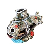 Govine Sunken Submarine Resin Decorations Ornament for Aquarium Fish Tank Accessories