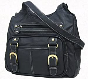 Roma Leathers Black Leather Pistol Concealment Shoulder Bag