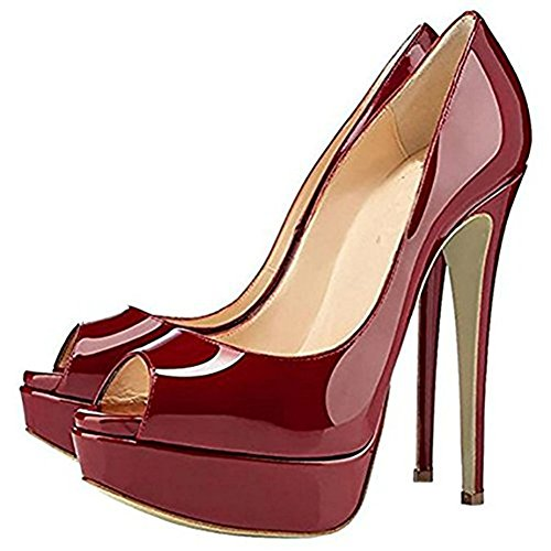 Scarpe col Donna con da Peep Scarpe Toe Scarpe Borgogna Plateau Tacco Scarpe x7HSSR