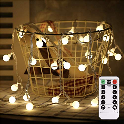 LED String Lights, SHCOJA 16.4 Feet 50 LED IP44 Waterproof String Lights, 8 Lighting Modes, Battery-powered Starry Wedding Fairy Lights for Bedroom, Garden, Christmas Tree, Wedding, Party (Warm Light) -