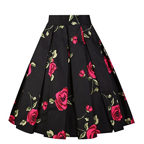 - Girstunm Women's Pleated Vintage Skirt Floral Print A-line Midi Skirts with Pockets Black-Rose S