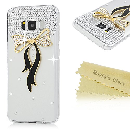 Galaxy S8 Case,Samsung Galaxy S8 Case 3D Handmade Bling Golden Diamond Bow with Ribbons Shiny Crystal Clear Diamonds Rhinestone Full Body Protection Clear Hard PC Cover by Mavis's Diary Ribbon Cell Phone Case